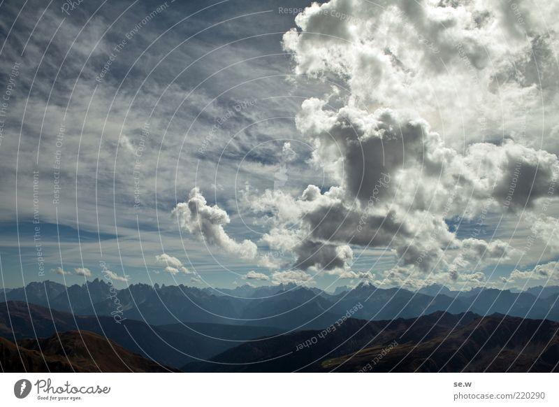 Südtirolpanorama .... | Antholz [20] Urelemente Himmel Wolken Sommer Herbst Schönes Wetter Alpen Berge u. Gebirge Croda Rossa Antholzer Tal Dolomiten Gipfel