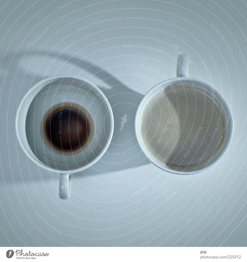 OFF-ON alt oben dreckig leer frisch Kaffee neu rund Wandel & Veränderung Tasse Schaum voll Durst Getränk Vogelperspektive 2