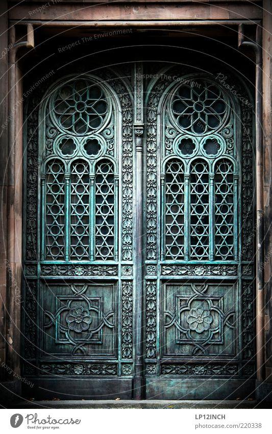 The Doors IV alt blau grau Gebäude Tür geschlossen historisch Eingang Museum Ornament Religion & Glaube Schnörkel Judentum Portal Eingangstür Holztür
