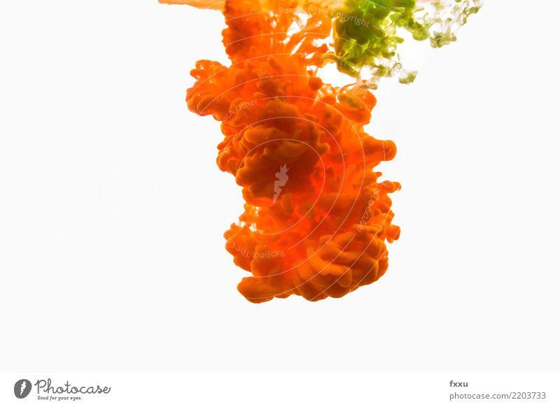 Acrylfarbe und Wasser Farbe Farbstoff gelb grün mehrfarbig zeichnen malen Aquarell Kunst Wolken farbwolke Explosion Ölfarbe Künstler hell Sturm Gewitter
