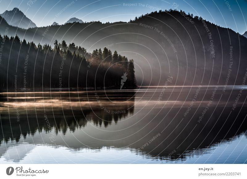 Herbstlicht Natur blau Landschaft Einsamkeit ruhig dunkel Berge u. Gebirge schwarz Religion & Glaube kalt Traurigkeit Tod See Zufriedenheit träumen