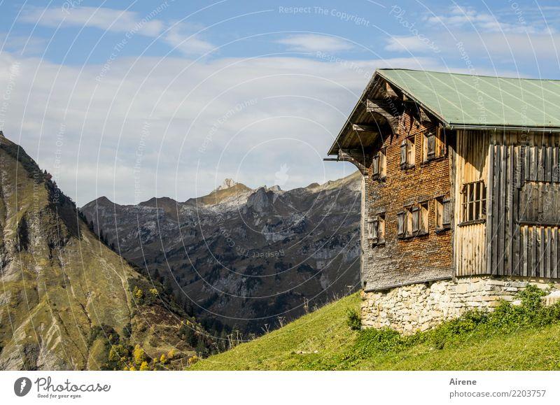Herbst Wanderzeit IV Ferien & Urlaub & Reisen Ausflug Ferne Berge u. Gebirge wandern Himmel Schönes Wetter Alpen Bregenzerwald Gipfel Haus Hütte Almwirtschaft
