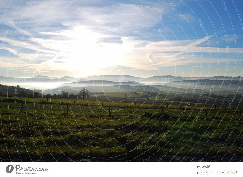 Home is where... Umwelt Natur Landschaft Himmel Wolken Horizont Sonnenlicht Herbst Schönes Wetter Nebel Wiese Feld Hügel Berge u. Gebirge Bayrische Rhön