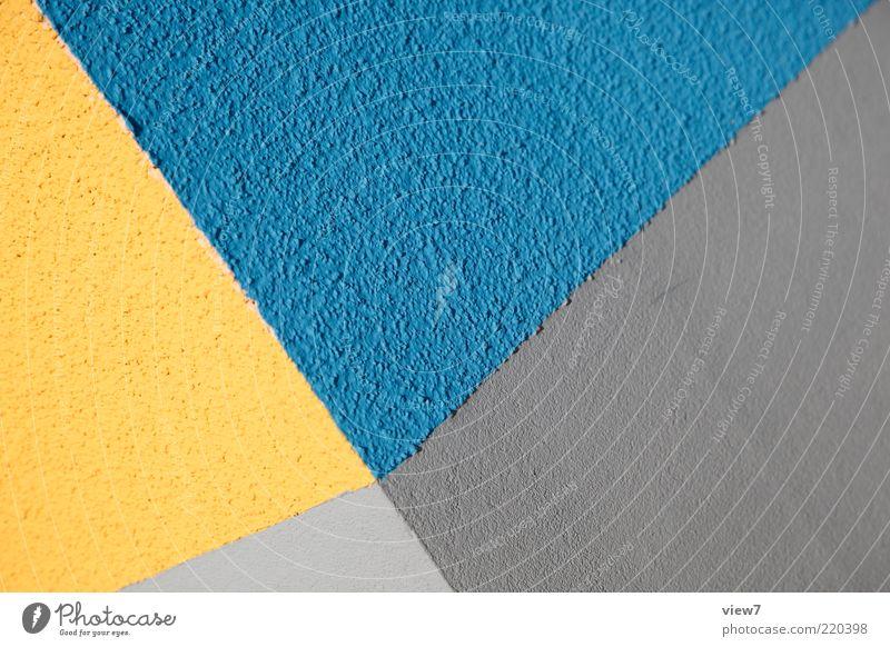 Dialog Mauer Wand Fassade Beton Linie Streifen ästhetisch einfach frisch modern neu blau mehrfarbig gelb Design Ordnung Qualität graphisch Sims Farbfoto