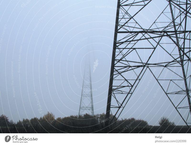 Energieriesen im Nebel Himmel Baum Pflanze schwarz dunkel Herbst grau Landschaft Metall Nebel Wetter Umwelt groß Energiewirtschaft Technik & Technologie Stahl