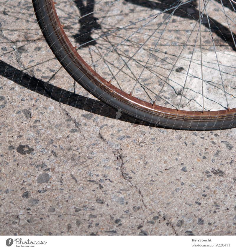 Rostig alt schwarz grau Metall braun Fahrrad rund verfallen Verfall Bildausschnitt Anschnitt verwittert Schrott Speichen Felge