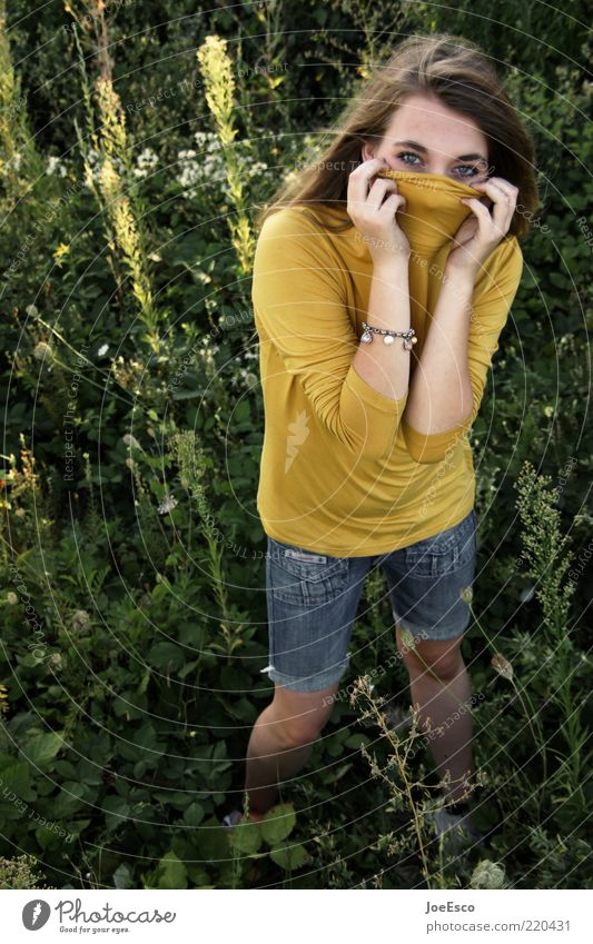 werktagsallergiker Frau Natur Jugendliche schön Sommer Blume Freude Blatt Erwachsene Leben Freiheit Gras Garten Freizeit & Hobby Fröhlichkeit Lifestyle