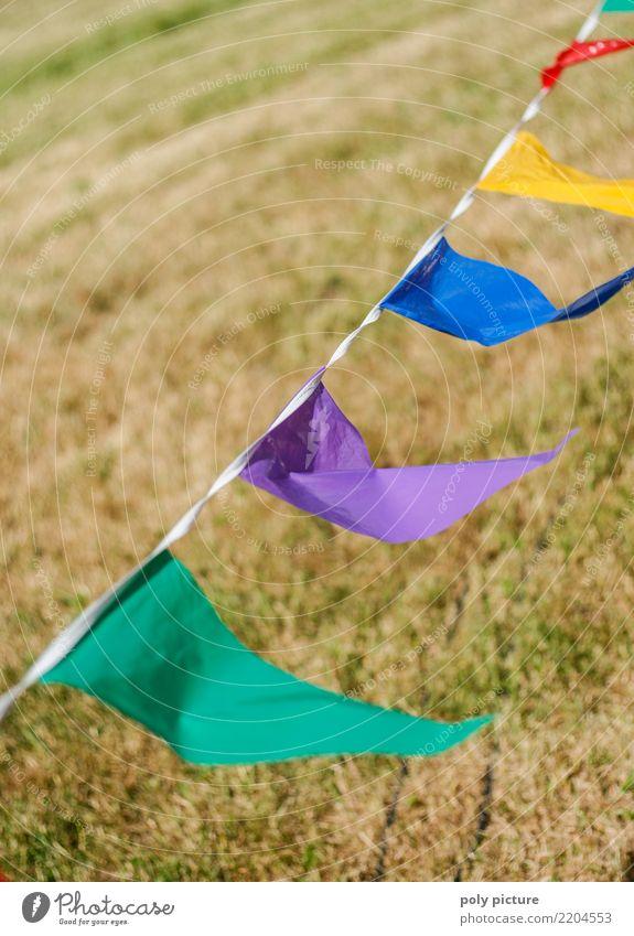 Bunte Fähnchen im Wind Lifestyle sportlich Leben Freizeit & Hobby Spielen Kinderspiel Garten Party Feste & Feiern Karneval Oktoberfest Jahrmarkt Hochzeit