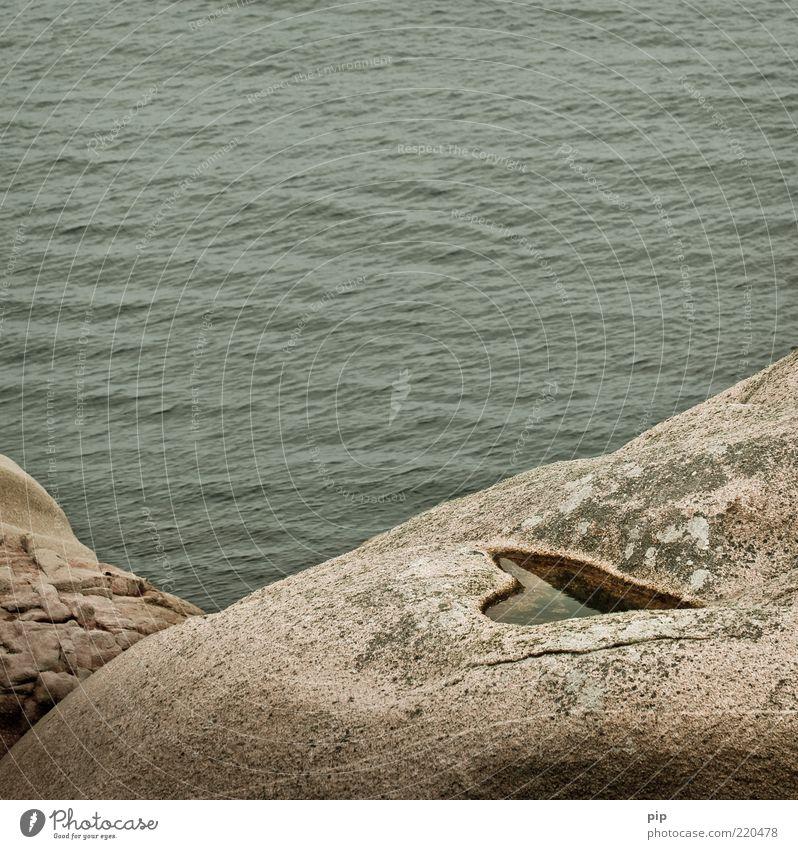noch meer liebe Umwelt Natur Landschaft Wasser Sommer Felsen Wellen Küste Meer kalt grün Romantik schön Herz herzförmig Granit Treue Symbole & Metaphern