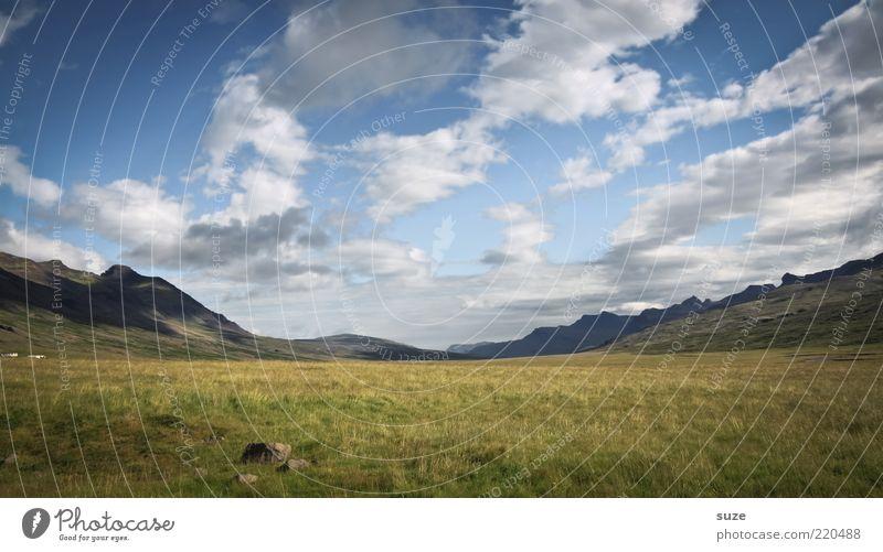So weit und doch so nah Umwelt Natur Landschaft Wolken Klima Schönes Wetter Gras Wiese Berge u. Gebirge frei Unendlichkeit schön Island Ferne außergewöhnlich