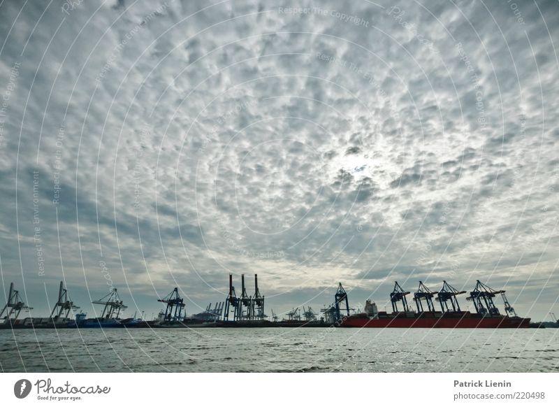HH - Strandperle Wasser Himmel Wolken Ferne grau Landschaft Luft Stimmung Wetter Umwelt Hamburg trist Güterverkehr & Logistik Hafen Wirtschaft