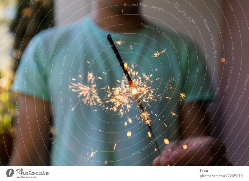 Wunderkerze Feste & Feiern Party leuchten Stern (Symbol) Feuer Postkarte Silvester u. Neujahr Jahr Funken Glückwünsche Neujahrsfest