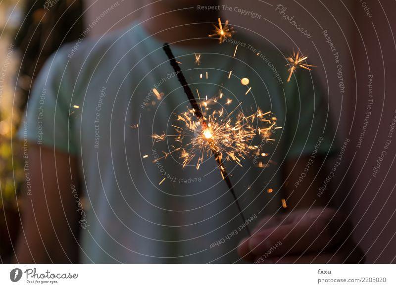Wunderkerze Feste & Feiern Party leuchten Stern (Symbol) Feuer Postkarte Silvester u. Neujahr Funken Glückwünsche Neujahrsfest