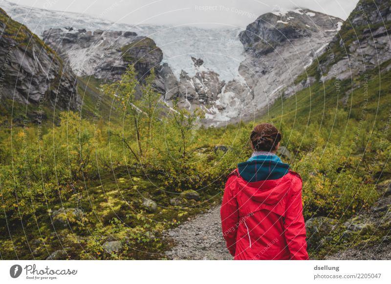 Bergsetbreen Mensch Ferien & Urlaub & Reisen Jugendliche Junge Frau Sommer grün Landschaft rot Wolken Ferne Berge u. Gebirge 18-30 Jahre Erwachsene kalt Herbst