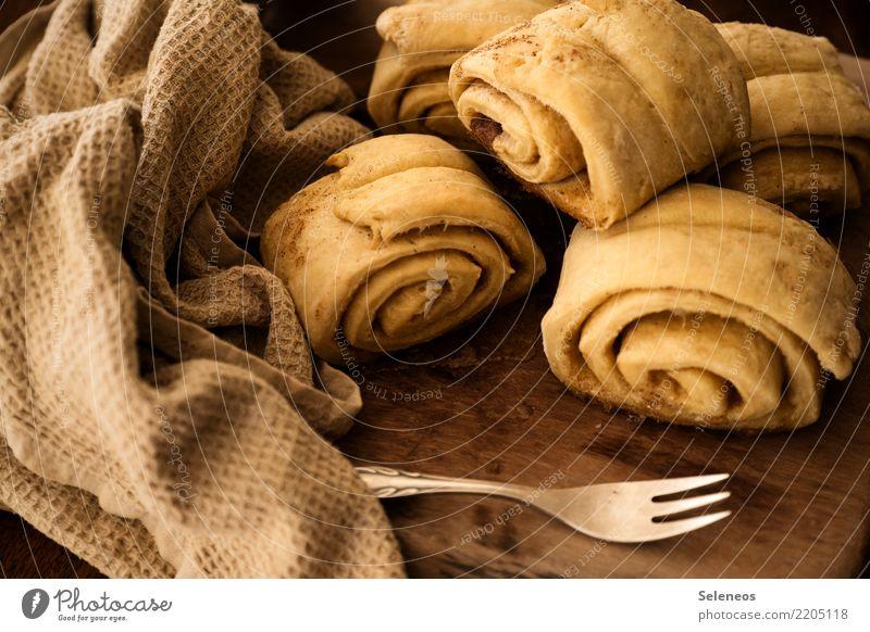 Franzbrötchen Lebensmittel Teigwaren Backwaren Brötchen Dessert Süßwaren Zimt Zucker Ernährung Vegetarische Ernährung Gabel genießen frisch lecker süß Völlerei