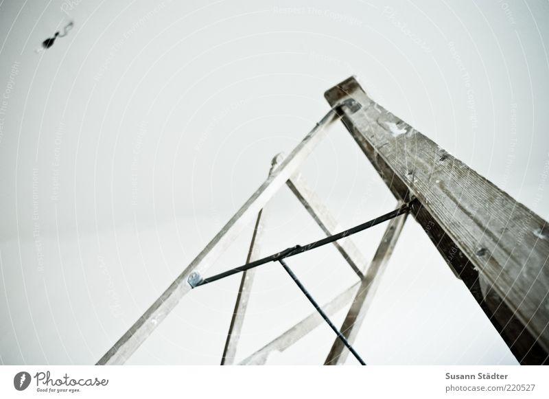 under construction Mauer Wand streichen kahl Leiter positiv Holzleiter Renovieren Sanieren Glühbirne Lampe Decke Raum weiß Innenaufnahme Menschenleer
