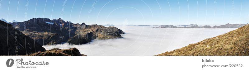 Herbstwetter von oben weiß grün blau Ferien & Urlaub & Reisen Ferne Freiheit Berge u. Gebirge Landschaft Stimmung Horizont Ausflug ästhetisch natürlich Alpen