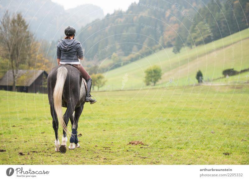 Junge Frau reitet auf Pferd in der Natur Lifestyle sportlich Freizeit & Hobby Reiten Ferien & Urlaub & Reisen Tourismus Ausflug Sport Reitsport Landwirtschaft