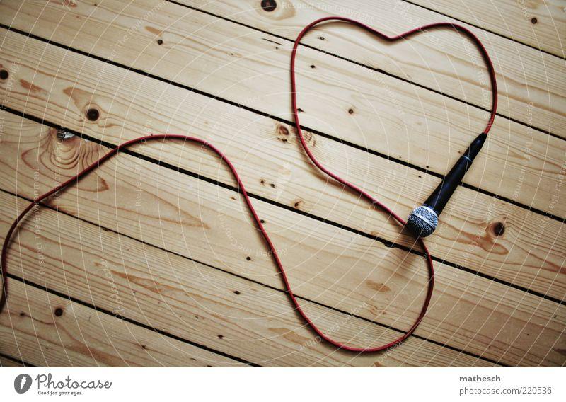 love music Musik Feste & Feiern Kabel Unterhaltungselektronik Mikrofon Mikrofonkabel Dielenboden Holz braun rot schwarz silber herzförmig Holzfußboden
