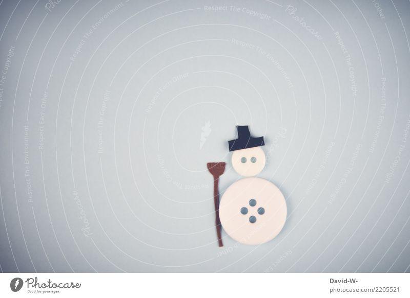 Herr Schneemann Lifestyle Mensch Kindheit Leben Kunst Künstler Umwelt Natur Winter Klimawandel Schönes Wetter Eis Frost Schneefall beobachten Gefühle Knöpfe