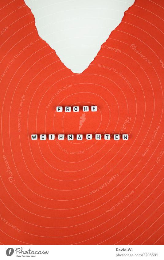 Frohe Weihnachten Lifestyle Feste & Feiern Weihnachten & Advent Mensch Kindheit Leben Kunst Bart Vollbart Weihnachtsmann Fröhlichkeit Wort Buchstaben Liebe rot