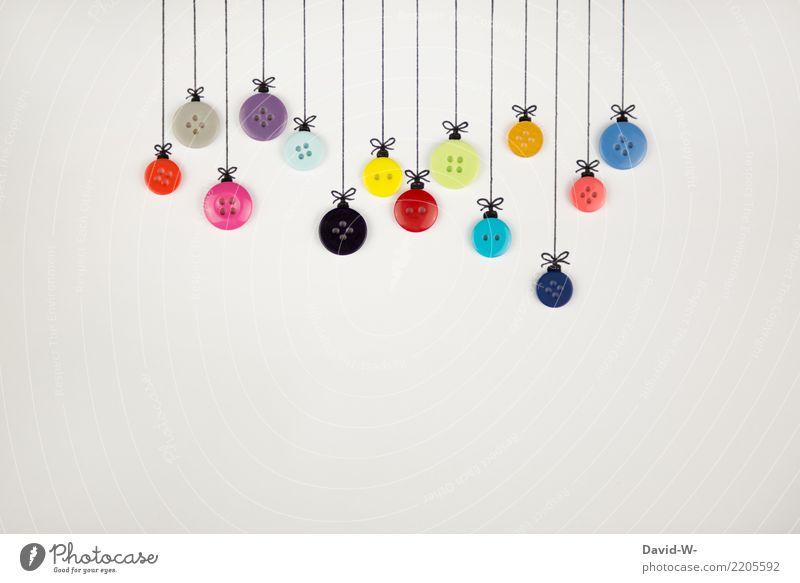 Christbaumknöpfe elegant Stil Design Freude Basteln Handarbeit Feste & Feiern Weihnachten & Advent Kindheit Leben Kunst Kunstwerk Gemälde hängen Weihnachtsmann