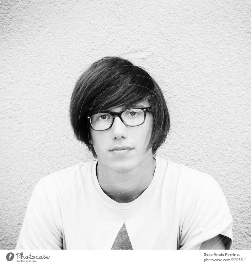 weiß. Lifestyle Haare & Frisuren maskulin Gesicht Lippen 1 Mensch Mauer Wand Brille Denken Coolness trendy schön einzigartig dünn verrückt Gefühle Zufriedenheit
