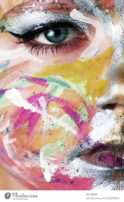 . Design exotisch Gesicht Kosmetik Schminke Sinnesorgane Nachtleben Party Veranstaltung Feste & Feiern Karneval Halloween Frau Erwachsene Auge Mund Show