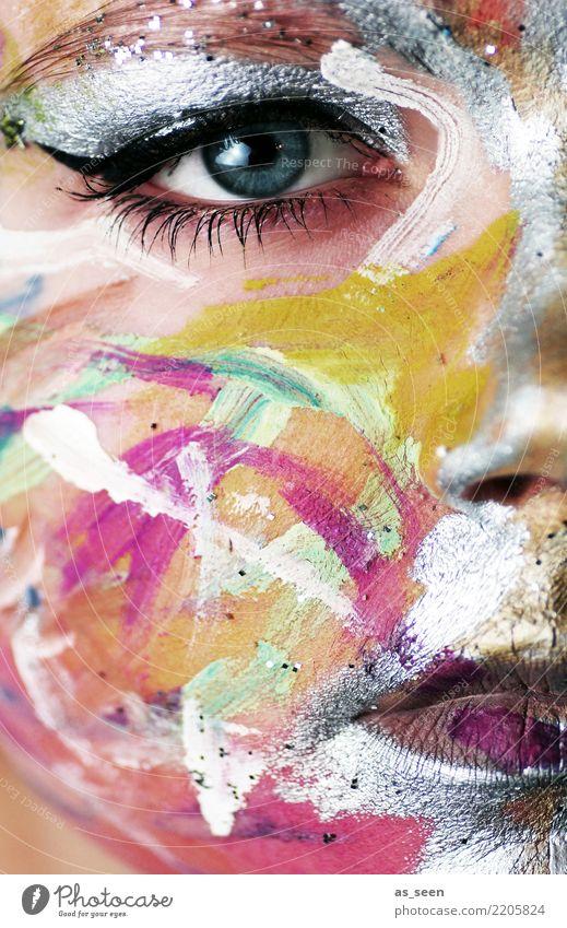 . Frau Farbe schön Gesicht Auge Erwachsene Gefühle feminin Feste & Feiern Party Design fantastisch Mund Show Veranstaltung Karneval