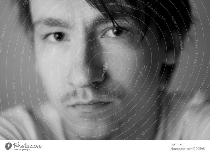 Unperfekt Mensch Mann Jugendliche Gesicht Auge Gefühle Haare & Frisuren Kopf Traurigkeit Denken Mund Stimmung warten Erwachsene maskulin Nase