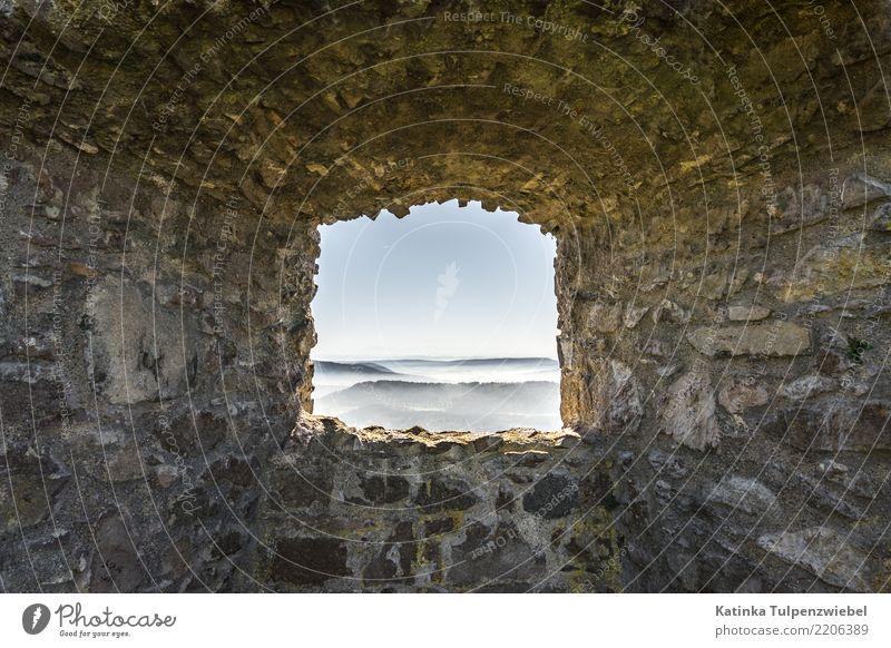 Burgfenster mit Blick auf Nebelfelder am Bodensee (Weitwinkel) Design Ferien & Urlaub & Reisen Architektur Natur Landschaft Himmel See Burg oder Schloss Ruine