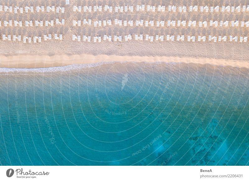 Liegestühle an einem Sand Strand am türkisblauen Meer von oben Natur Ferien & Urlaub & Reisen Sommer Wasser Sonne Erholung Ferne Lifestyle Küste Tourismus