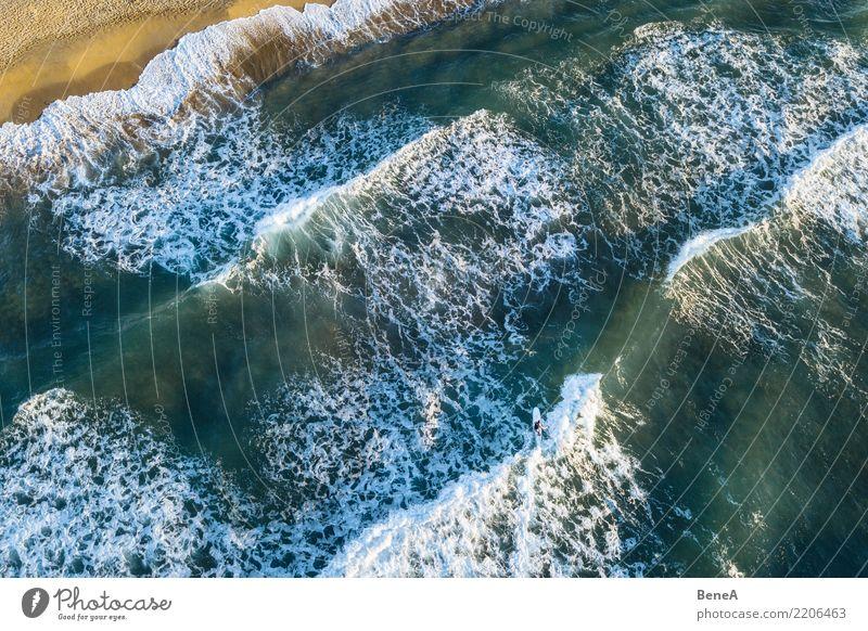 Surfer und Wellen im Meer am Sand Strand von oben exotisch Schwimmen & Baden Freizeit & Hobby Ferien & Urlaub & Reisen Tourismus Ausflug Abenteuer Ferne