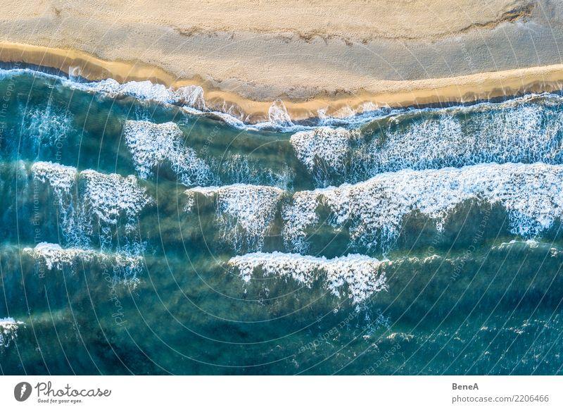 Türkisblaues Meer und Wellen am Sand Strand Natur Ferien & Urlaub & Reisen Sommer Wasser Sonne Erholung Ferne Küste Sport Tourismus Freiheit Schwimmen & Baden