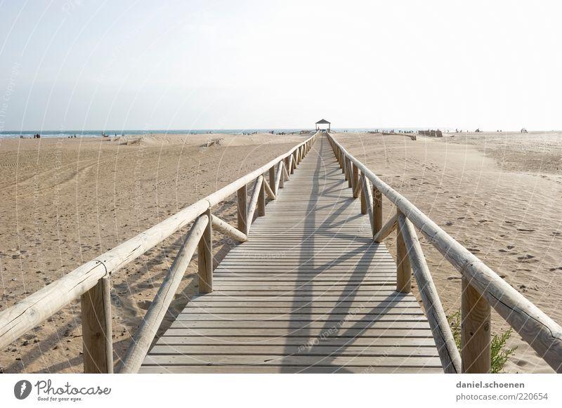 für Frau Schiffner Meer Sommer Strand Ferien & Urlaub & Reisen Wege & Pfade Sand hell Küste Horizont Tourismus Steg Spanien Schönes Wetter Geländer Promenade
