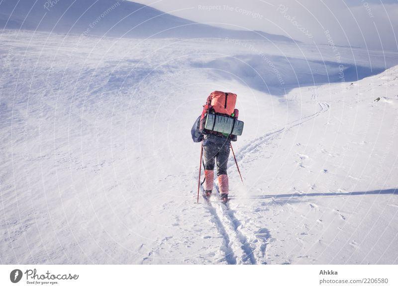 Skifahrer in Schneelandschaft mit Wanderrucksack Mensch Jugendliche Junge Frau Landschaft weiß Winter Berge u. Gebirge kalt Wege & Pfade Bewegung wild retro