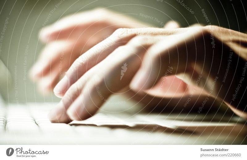 tippen Computer Notebook Tastatur Hardware Hand Finger schreiben E-Mail Tippen digital online Internet Vernetzung Antwort mehrfarbig Innenaufnahme Nahaufnahme