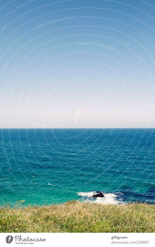 half n' half Umwelt Natur Landschaft Pflanze Urelemente Wasser Himmel Wolkenloser Himmel Sommer Schönes Wetter Gras Wiese Wellen Küste Strand Meer Insel