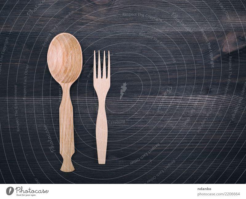 Holzlöffel und Gabel Löffel Basteln Küche retro braun weiß Tradition Top Hintergrund Aussicht altehrwürdig Konsistenz Gerät Utensil Kulisse leer Küchengeräte