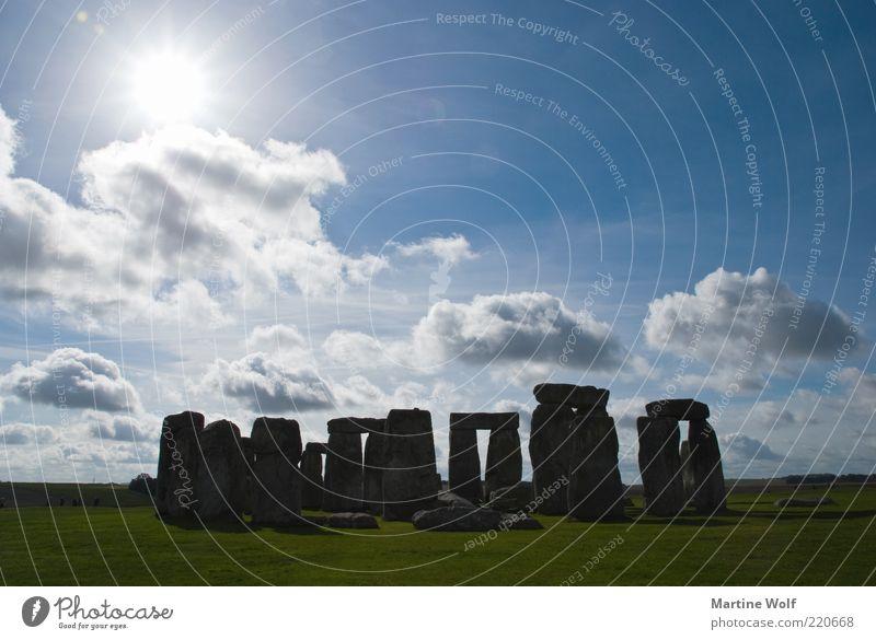 hipper Steinhaufen Natur Landschaft Sonnenlicht Schönes Wetter Stonehenge England Großbritannien Europa Menschenleer Sehenswürdigkeit Kultur mystisch Kultstätte