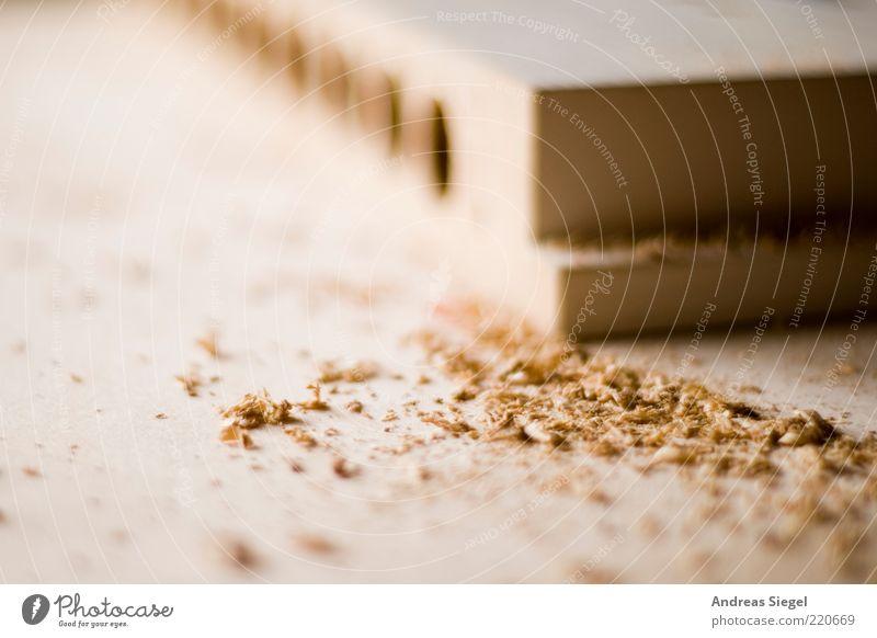 Hier wird gehobelt Arbeit & Erwerbstätigkeit Holz hell dreckig Handwerk Werkstatt Schneidebrett Arbeitsplatz Bohrloch Späne Sägemehl Schreinerei Bastelmaterial