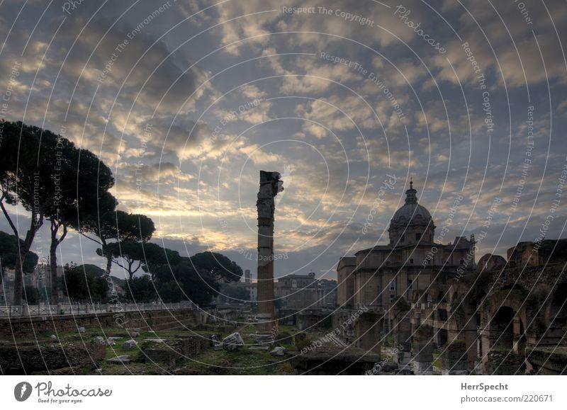 Forum Romanum bei Tagesanbruch Himmel Wolken Schönes Wetter Hauptstadt Kirche Sehenswürdigkeit Wahrzeichen Denkmal alt ästhetisch blau grau Ruine Ausgrabungen