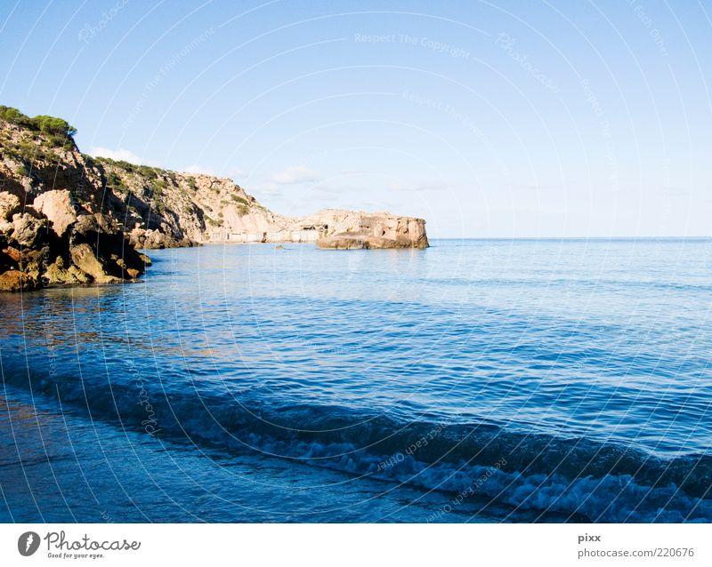 agoraphobie Wasser Himmel Sonne Meer blau Sommer Strand ruhig Ferne braun Küste Wellen nass Horizont Felsen Insel