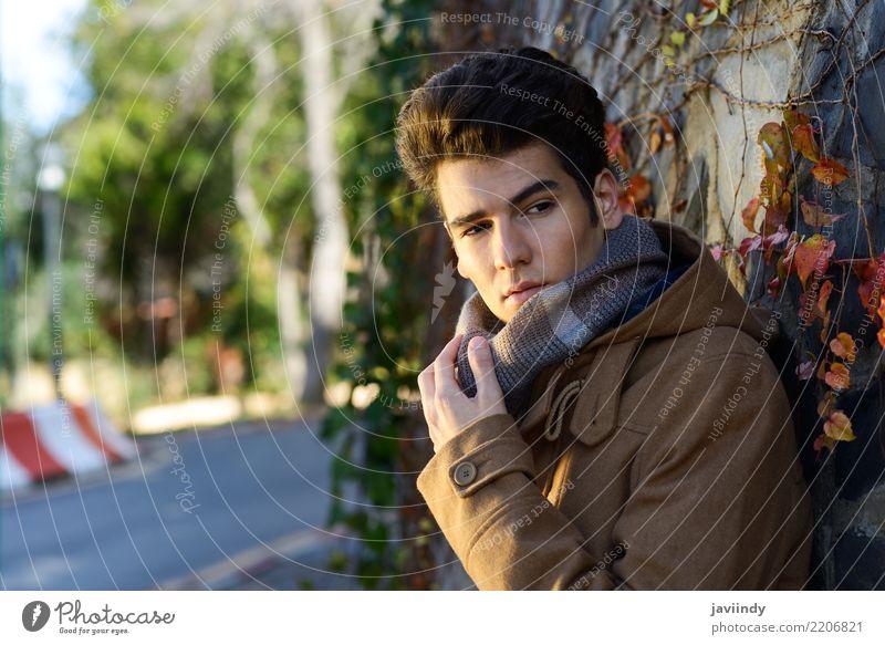 Junger gutaussehender Mann, Modell der Mode, mit moderner Frisur Lifestyle Stil Haare & Frisuren Gesicht Winter Mensch Erwachsene Herbst Anzug Jacke Mantel
