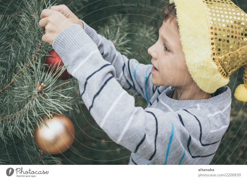 Glücklicher junger kleiner Junge, der Weihnachtsbaum verziert Kind Mensch Weihnachten & Advent schön Baum Hand Freude Winter Gesicht Lifestyle