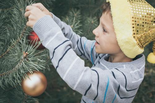 Glücklicher junger kleiner Junge, der Weihnachtsbaum verziert Lifestyle Freude schön Gesicht Spielen Winter Dekoration & Verzierung Feste & Feiern