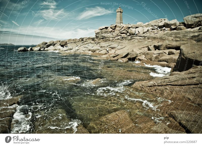 turmflut Natur Wasser Himmel Meer Sommer Ferien & Urlaub & Reisen Wolken Ferne Stein Küste Wellen Felsen Turm Bucht Urelemente Wahrzeichen