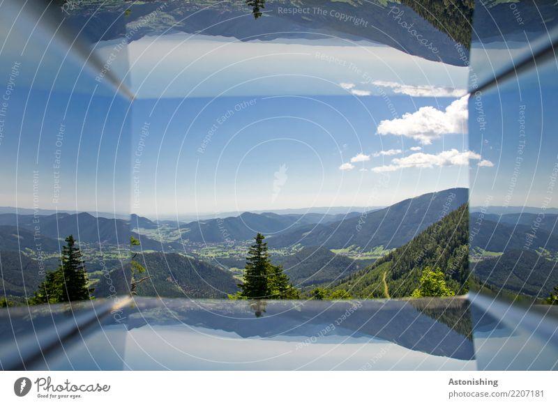 verkehrte Welt Sport Umwelt Natur Landschaft Pflanze Luft Himmel Wolken Horizont Sommer Wetter Schönes Wetter Baum Gras Hügel Alpen Berge u. Gebirge Gipfel