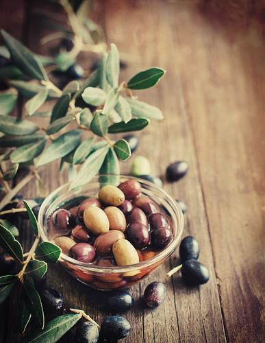 Frische Oliven und Ölzweig auf rustikalem hölzernem Hintergrund grün Blatt dunkel gelb natürlich braun Ernährung frisch Gemüse Ernte Flasche Diät Zutaten
