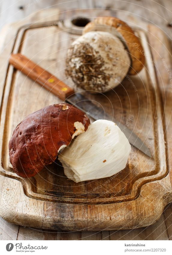 Wilde porcino Pilze auf einem Abschluss des hölzernen Brettes oben Gemüse Vegetarische Ernährung Diät Herbst Holz lecker wild Steinpilze Maronenröhrling
